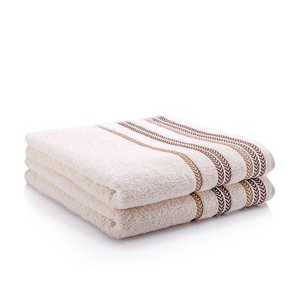 Sada 2 ručníků Hugo Cream, 70x140 cm