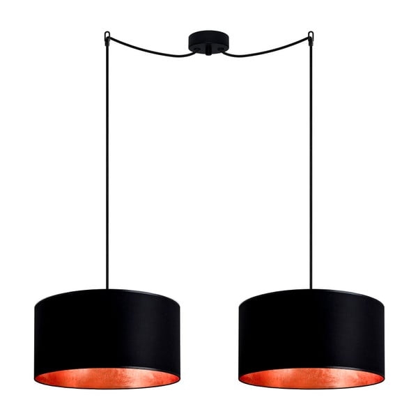 Černé dvojité stropní svítidlo s detaily v bronzové barvě Sotto Luce Mika Elementary