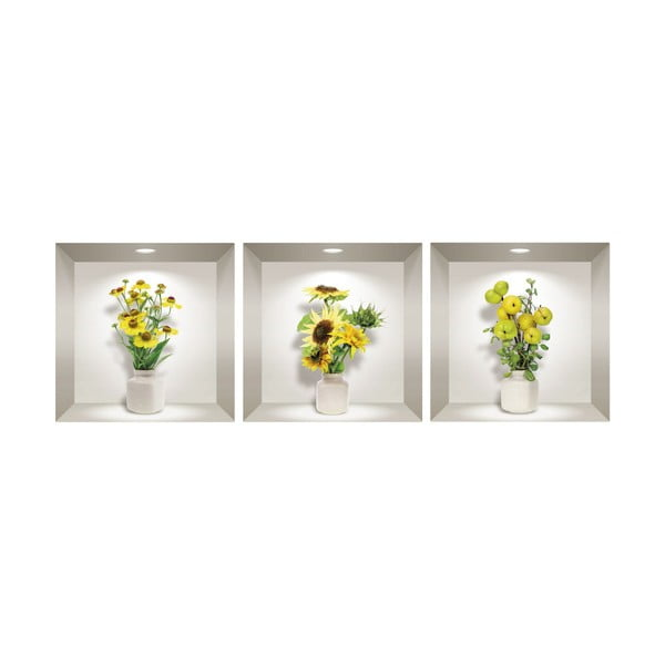 Sada 3 3D samolepek na zeď Ambiance Yellow Flowers