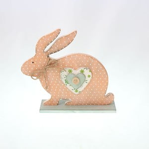 Dekorativní dřevěný růžový zajíc, 15 cm