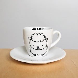 Šálek na espresso s podšálkem FOR.REST Design Sheep, 100ml