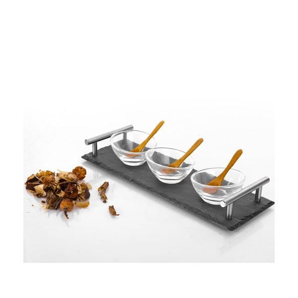 Zestaw 3 miseczek z łyżeczkami i tacką Bambum Poas, 30x10 cm