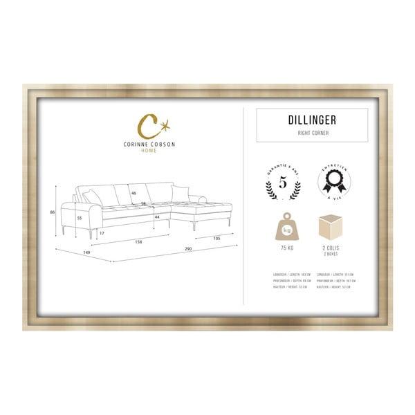 Set canapea crem cu șezlong pe partea dreaptă, 4 scaune taupe și saltea 160 x 200 cm Home Essentials