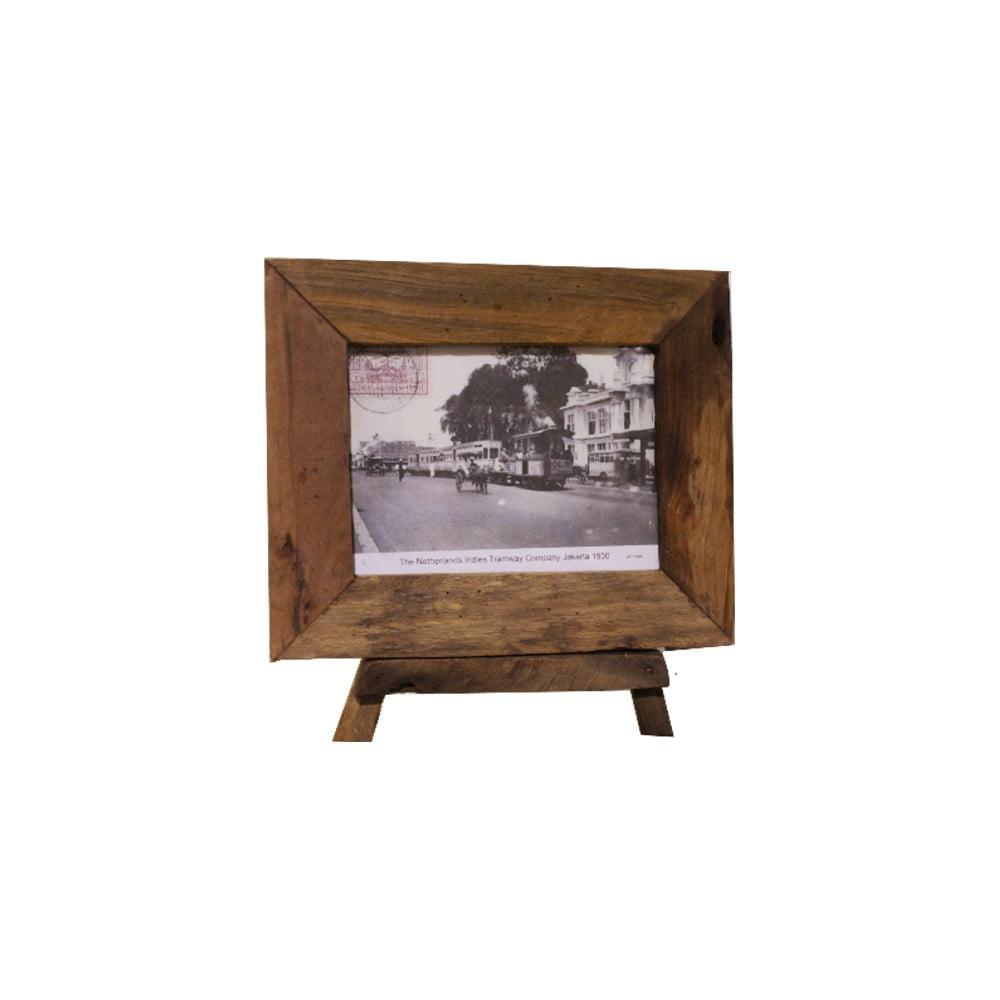 Rámeček na fotografie z teakového dřeva HSM Collection Antique, 33 x 28 cm