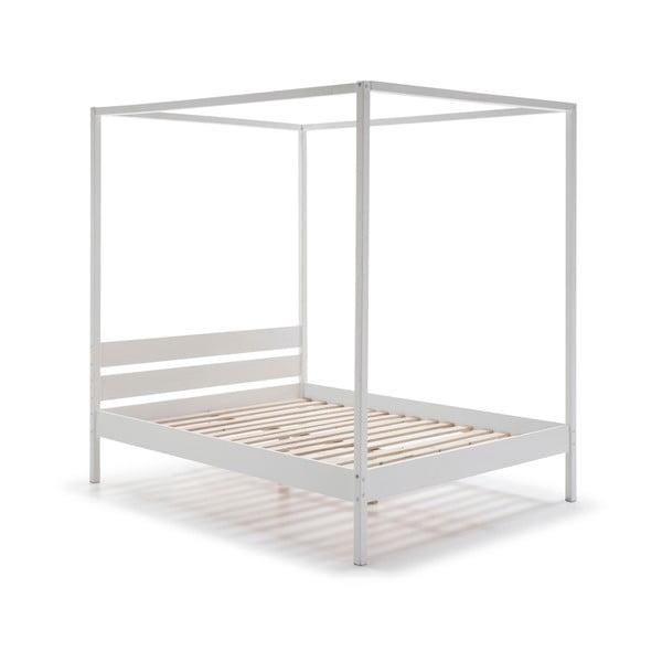 Białe drewniane łóżko Marckeric Dossel, 140x200 cm