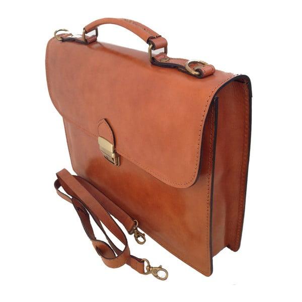 Koňakově hnědá kožená taška Chicca Borse Irene