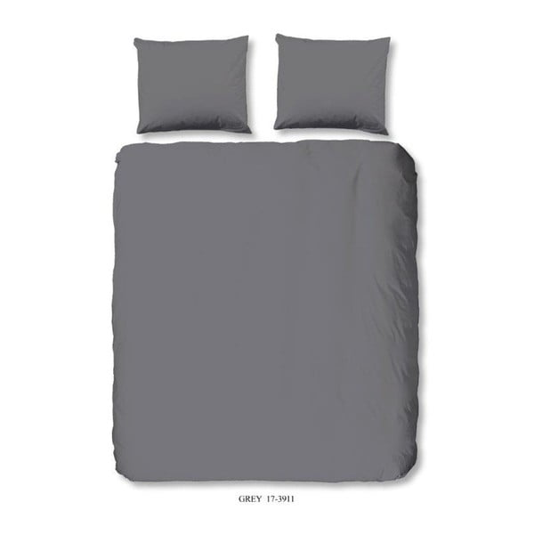 Tmavě šedé povlečení z bavlny na jednolůžko Good Morning Basso Uni, 140 x 200 cm