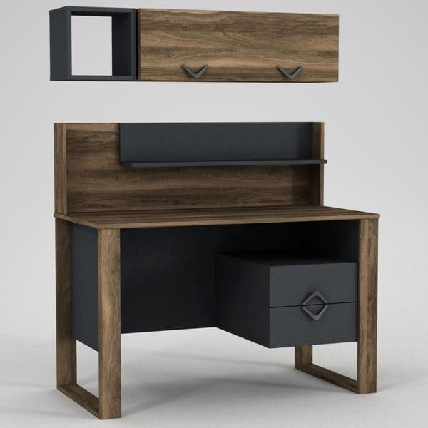 Zestaw biurka z szufladami i półkami Bumerang