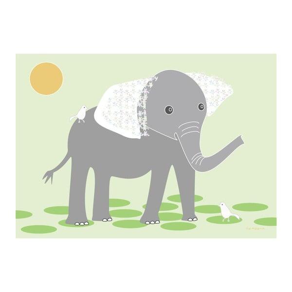 Plakát Slon s květovanýma ušima
