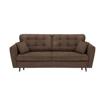 Canapea extensibilă cu 3 locuri și spațiu pentru depozitare Cosmopolitan Design Lyon maro