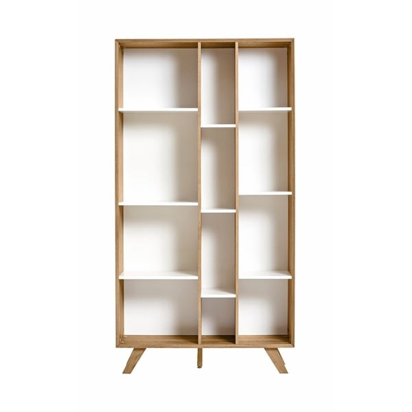 Bibliotecă cu detalii albe Marckeric Tivoli, 98 x 184 cm