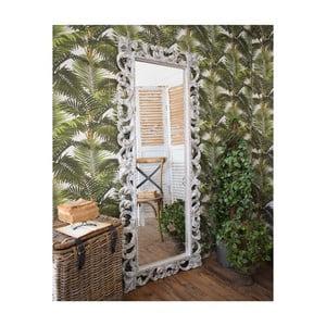 Bílé zrcadlo z mangového dřeva Orchidea Milano Antique, 70x170cm