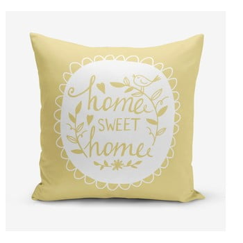 Față de pernă Minimalist Cushion Covers Home Sweet Home, 45 x 45 cm, galben de la Minimalist Cushion Covers