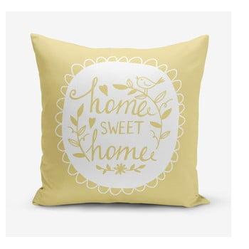 Față de pernă Minimalist Cushion Covers Home Sweet Home, 45 x 45 cm, galben de la Minimalist Cushion Covers