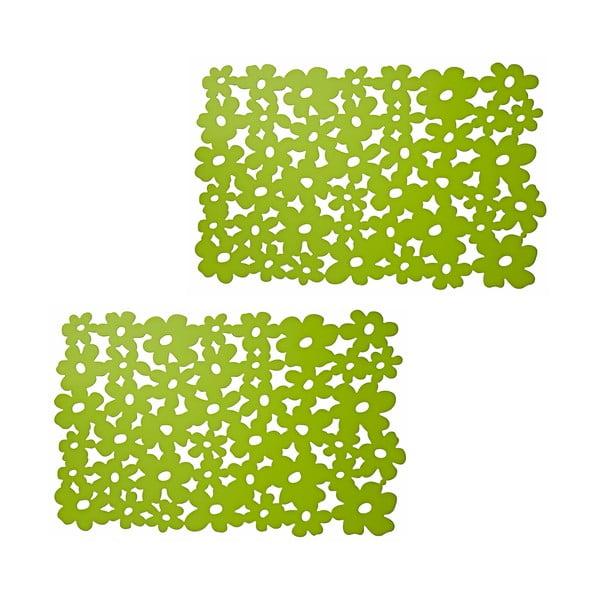 Set prostírání se zelenými květy, 2 ks