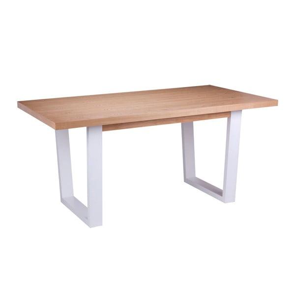 Stół w dekorze drewna dębowego z białymi nogami sømcasa Amber, 180 x 90 cm