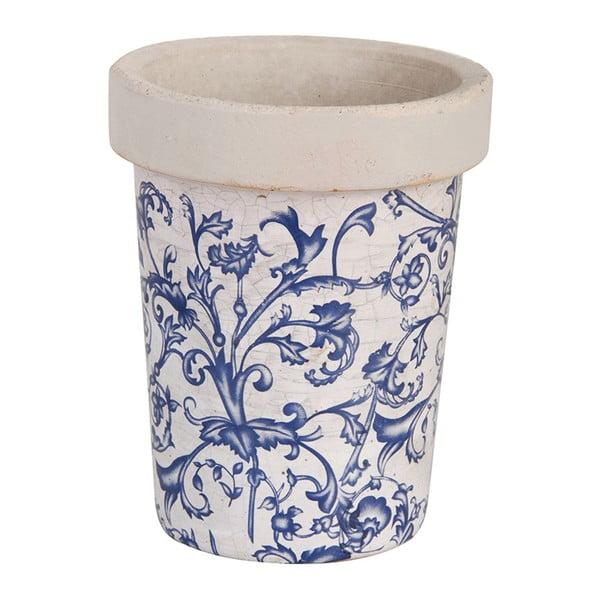 Modrobílý keramický květináč Esschert Design