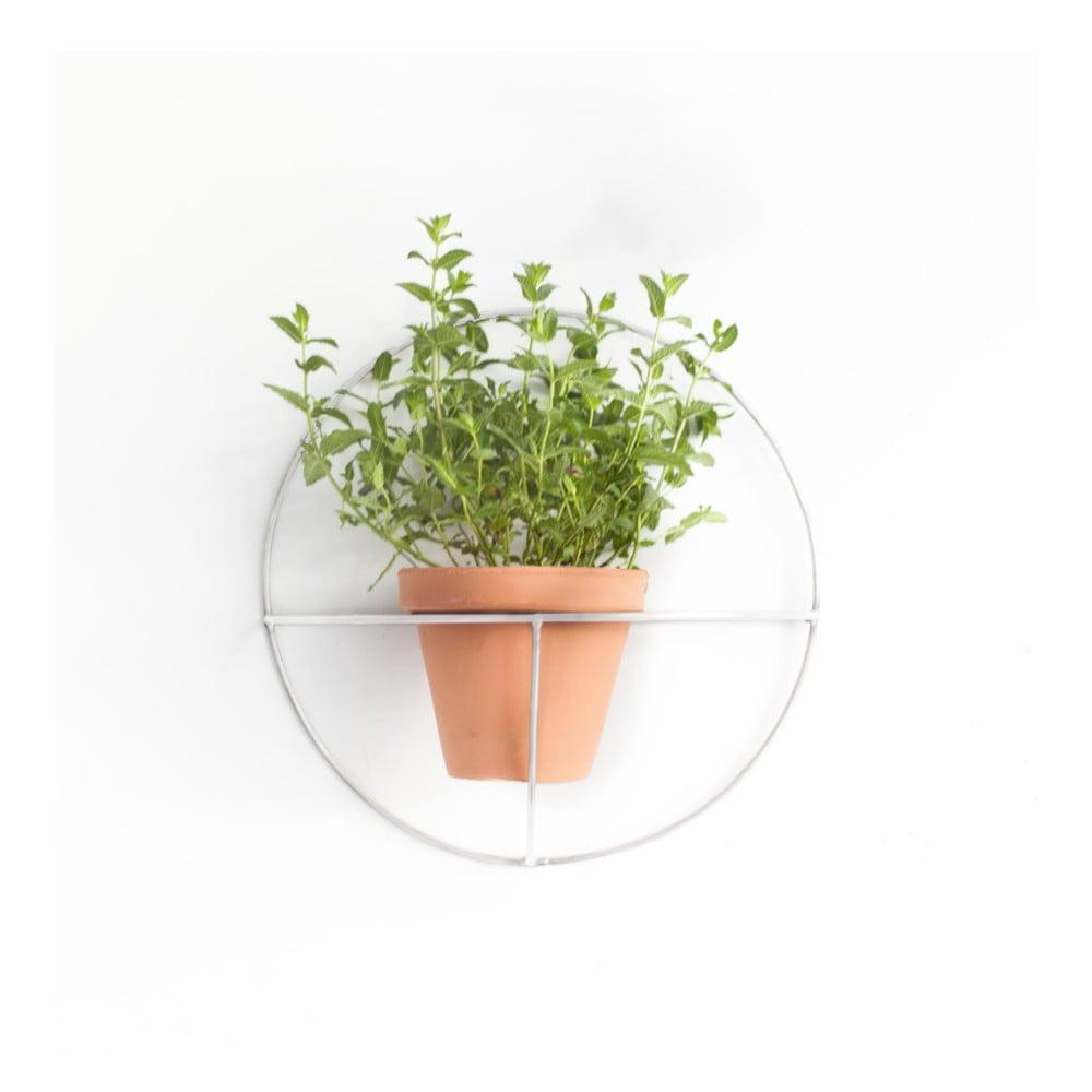 Bílý nástěnný držák na květináč Really Nice Things Circle, ⌀ 44 cm