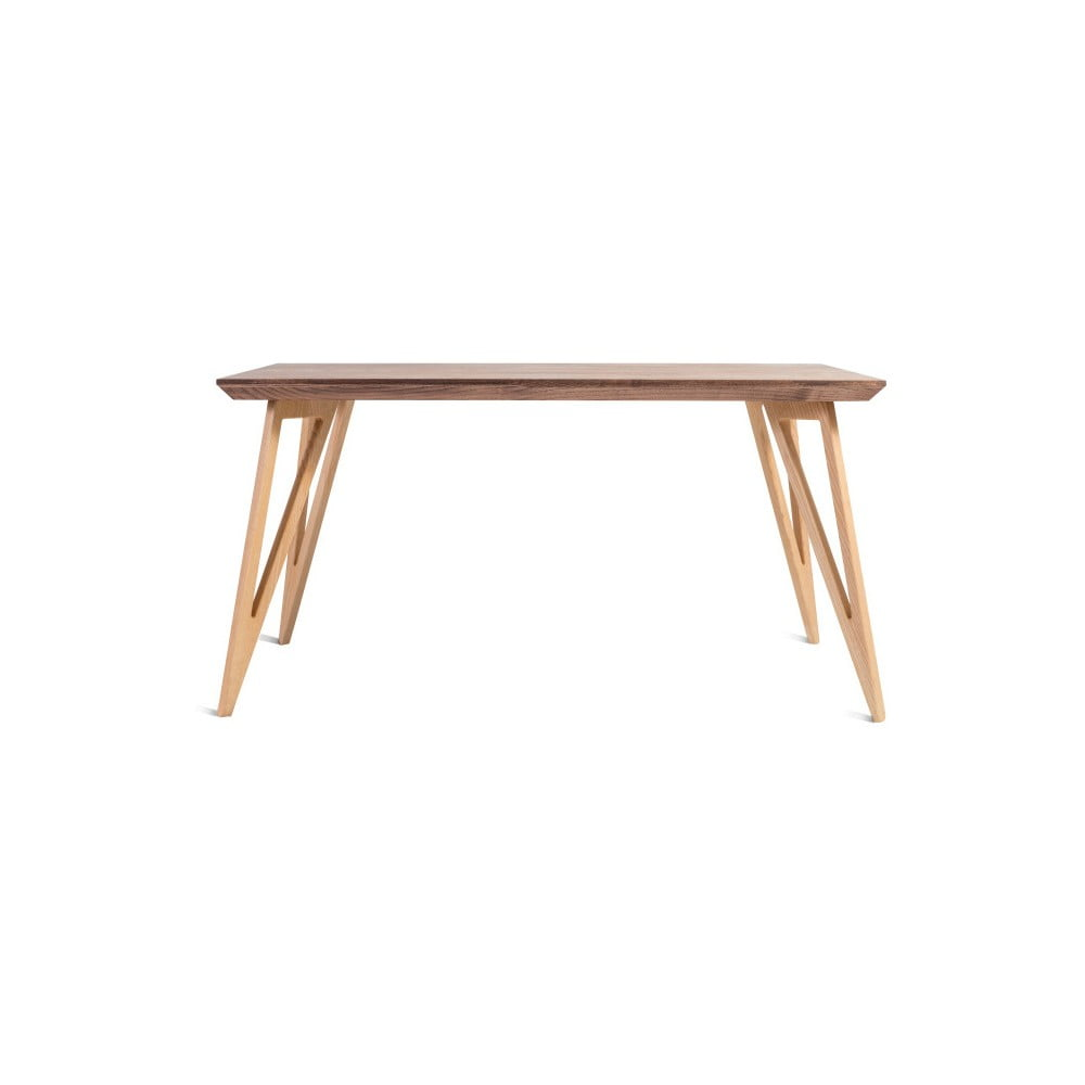 Jídelní stůl z masivního jasanového dřeva Charlie Pommier Triangle, 140 x 80 cm