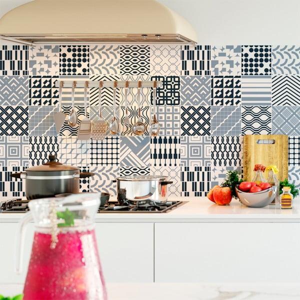 Set 24 autocolante de perete Ambiance Scandinavian Tiles Kiev, 10 x 10 cm