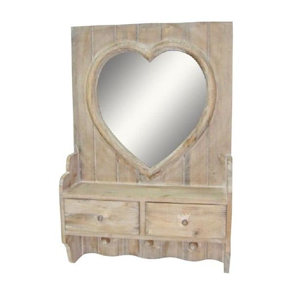 Oglindă cu sertare Antic Line Heart Vintage