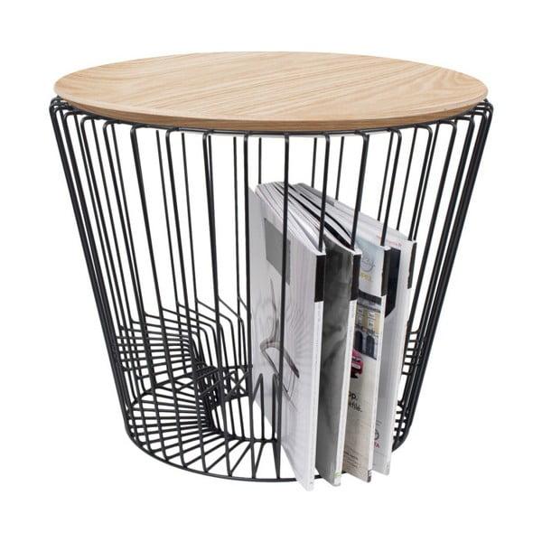 Odkládací stolek z kovu v dekoru světlého dřeva HARTÔ, Ø 50 cm