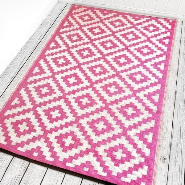 Růžovobílý oboustranný venkovní koberec Green Decore Braino, 90 x 150 cm