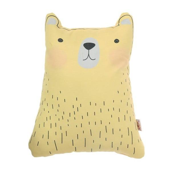 Żółta poduszka dziecięca z domieszką bawełny Apolena Pillow Toy Bear Cute, 22x30 cm