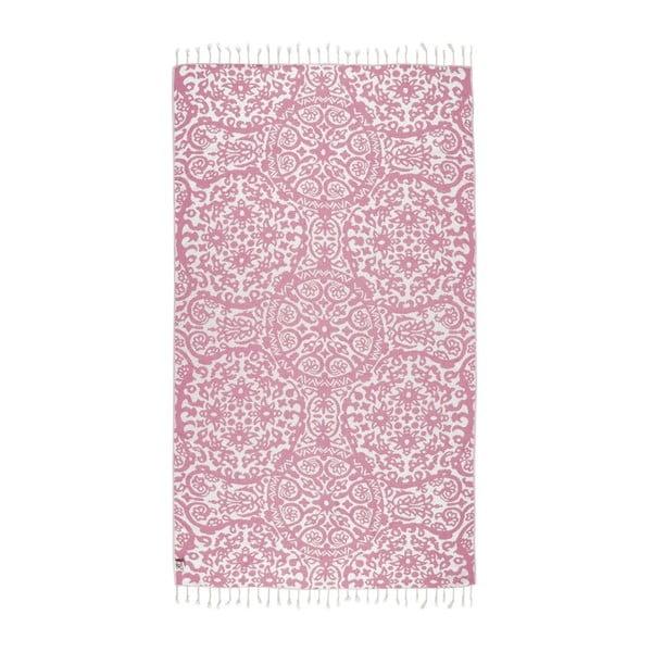 Růžová hammam osuška Kate Louise Camelia, 165x100cm