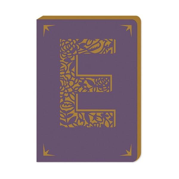 Linkovaný zápisník A6 s monogramem Portico Designs E, 160stránek