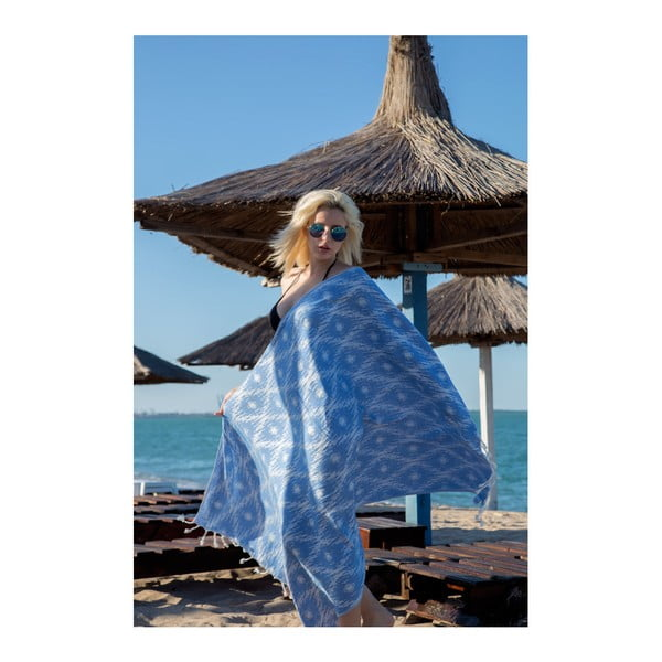 Prosop hammam Kate Louise Calypso, 165 x 100 cm, albastru