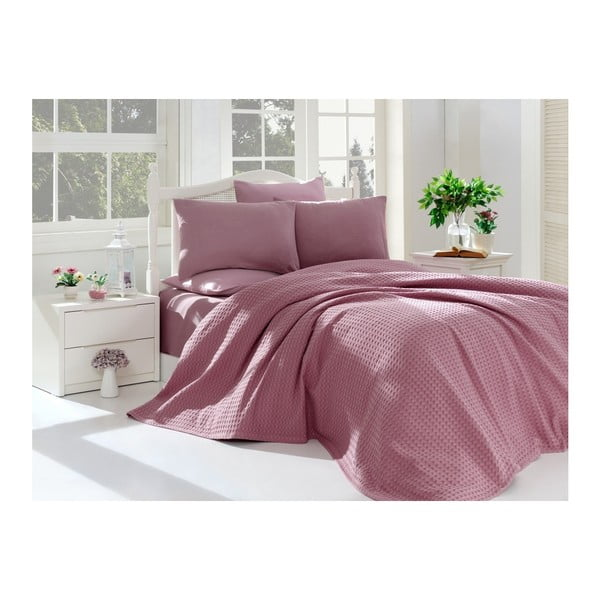 Set din bumbac pentru dormitor Purple Pique 220 x 240 cm, mov