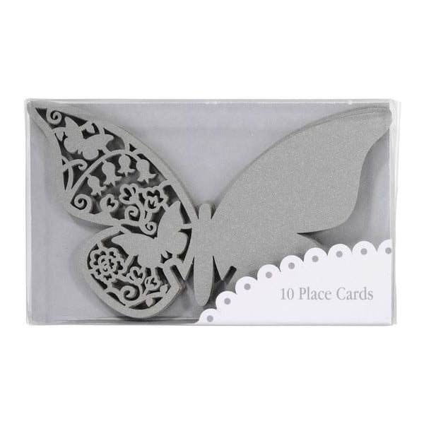 Sada 10 jmenovek/rozlišovačů na skleničky Butterflies, stříbrná