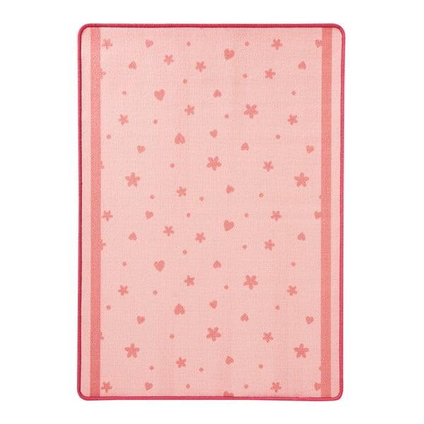 Dětský růžový koberec Zala Living Stars & Hearts, 100 x 140 cm