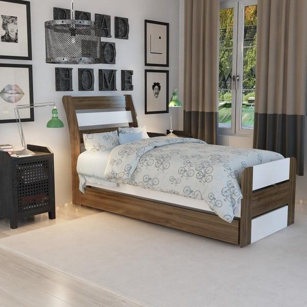Jednolůžková postel Poli Walnut White, 104 x 201 cm