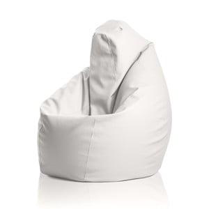 Kožený sedací vak Hruška, bílá