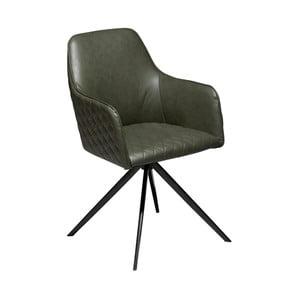 Tmavě zelená jídelní židle z eko kůže s područkami DAN–FORM Denmark Twine