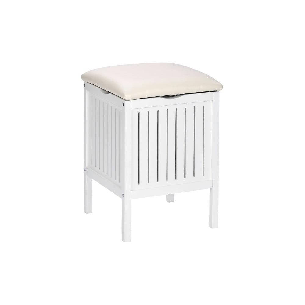 Bílá dřevěná stolička s úložným prostorem Wenko Oslo
