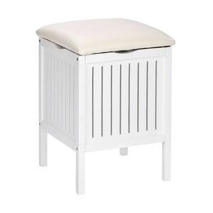 Bílá dřevěná stolička do koupelny súložným prostorem Wenko Oslo
