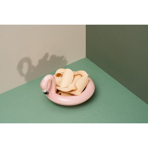 Różowa ceramiczna pływająca miska DOIY Flamingo, 18x16 cm