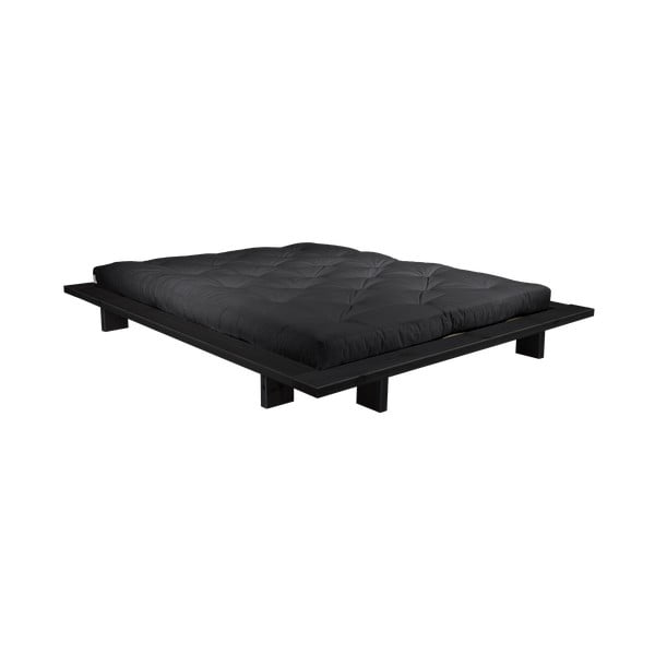 Łóżko dwuosobowe z drewna sosnowego z materacem Karup Design Japan Double Latex Black/Black, 160x200 cm