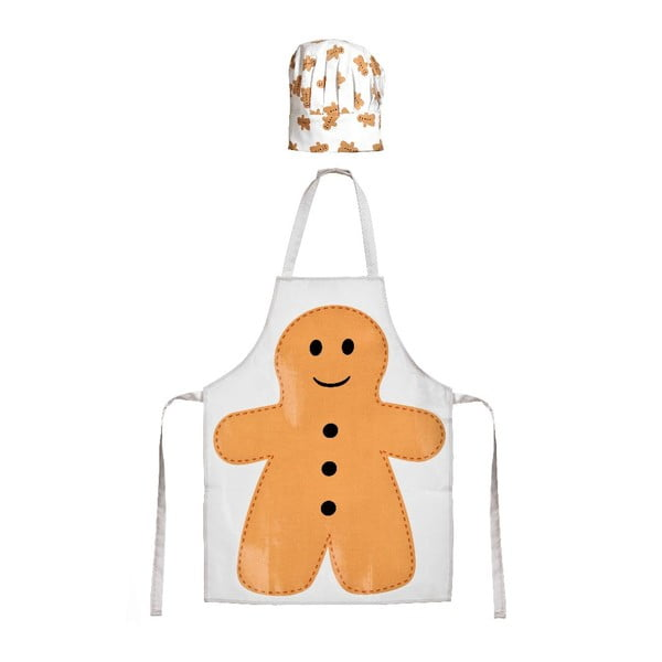 Dětský set zástěry a čepice Gingerbread