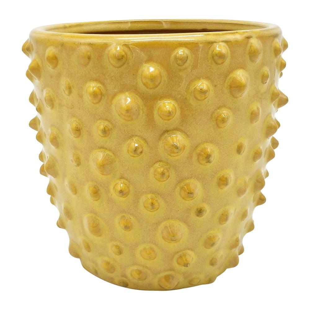 Žlutý keramický květináč PT LIVING Spotted, ø 14 cm