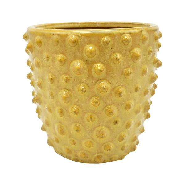 Žltý keramický kvetináč PT LIVING Spotted, ø14cm
