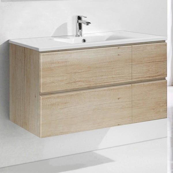 Koupelnová skříňka s umyvadlem a zrcadlem Capri, dekor dřeva, 100 cm