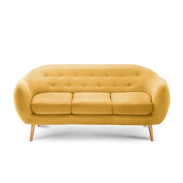 Canapea pentru 3 persoane Scandi by Stella Cadente Maison Constellation, galben
