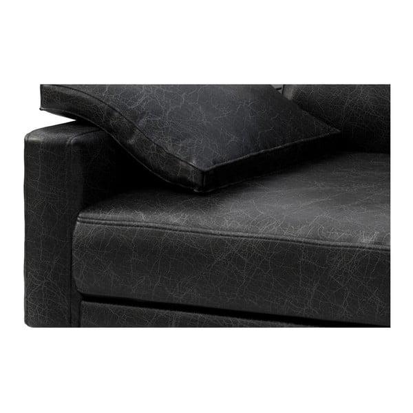 Černá kožená pohovka s lenoškou na pravé straně MESONICA Musso