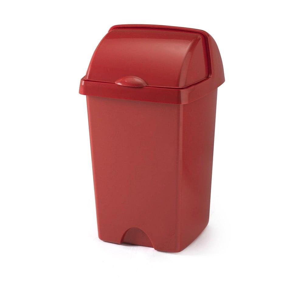 Větší červený odpadkový koš Addis Roll Top, 31 x 30 x 52,5 cm