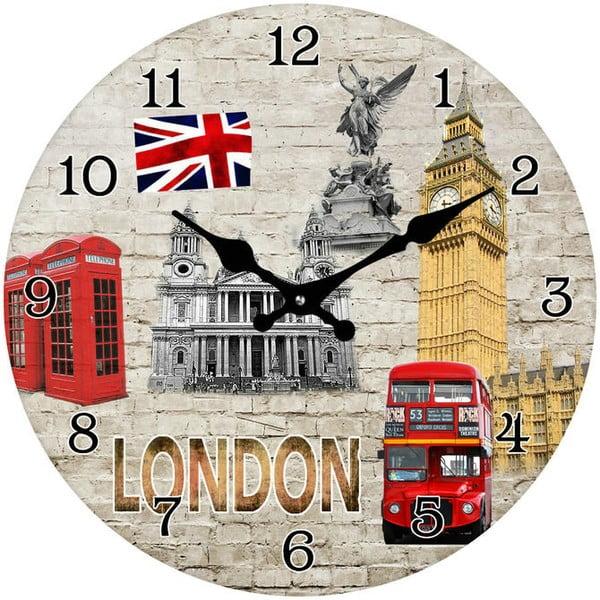Skleněné hodiny Dominanty Londýna, 34 cm
