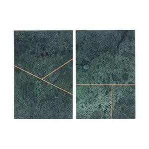 Sada 2 zelených táců House Doctor Green Marble, 20x30 cm
